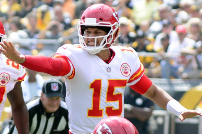 Kansas City Chiefs quarterback Patrick Mahomes (15) signals to his line during a win over the Pittsburgh Steelers at Heinz Field in Pittsburgh on September 16, 2018. Photo by Archie Carpenter/UPI