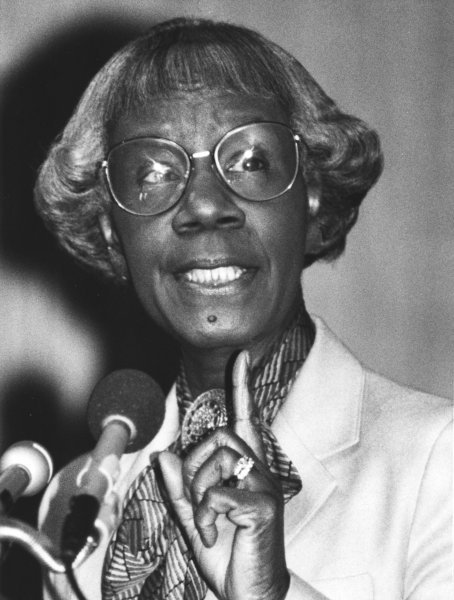 Former congresswoman Shirley Chisholm addresses the kickoff of the Smithsonian Institution Black History Month at the Museum of American History on February 2, 1987, in Washington. Chisholm will be honored with a statue near Brooklyn's Prospect Park. File Photo by Vince Mannino/UPI