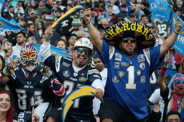 The Los Angeles Chargers faced the Tennessee Titans during the NFL's international series October 21 at Wembley Stadium in London. File Photo by Hugo Philpott/UPI