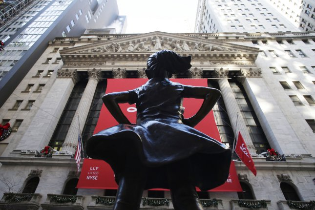 The Fearless Girl statue, a symbol of female strength in entrepreneurship, is seen in front of the New York Stock Exchange on Wall Street in New York City. File Photo by John Angelillo/UPI