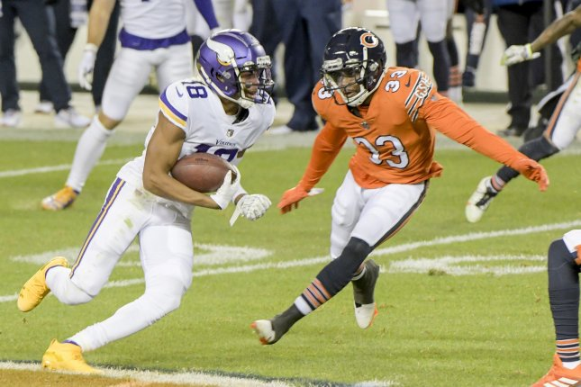Minnesota Vikings wide receiver Justin Jefferson (18) finished with nine receptions for 133 yards in Sunday's win over the Detroit Lions. File Photo by Mark Black/UPI