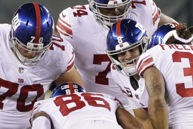 Right guard Kevin Zeitler (70), who started 16 games last season for the New York Giants, has agreed to join the Baltimore Ravens. File Photo by John Angelillo/UPI