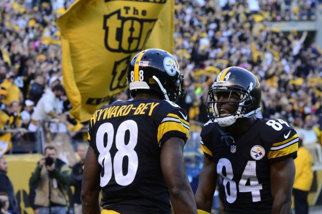 c272d98ffea ... his touchdown with wide receiver Antonio Brown (84) in the second  quarter against New England Patriots at Heinz Field in Pittsburgh on  October 23