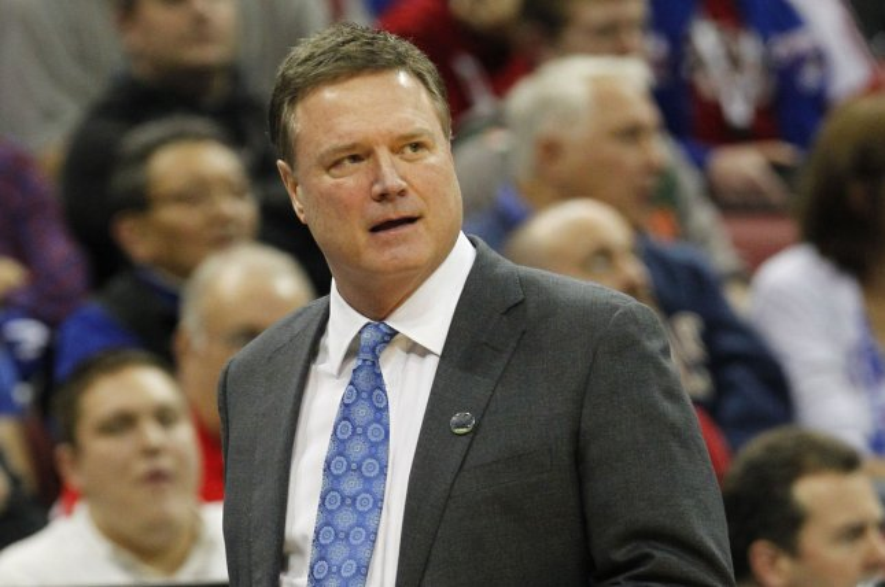 Coach Bill Self and top-ranked Kansas host South Dakota on Thursday night. Photo by John Sommers II/UPI
