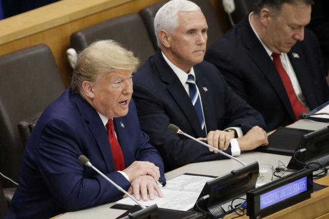 President Donald Trump speaks Monday at an event on religious freedom at the 74th General Debate at the United Nations General Assembly in New York City. Seated beside him is Vice President Mike Pence and Secretary of State Mike Pompeo. Photo by John Angelillo/UPI