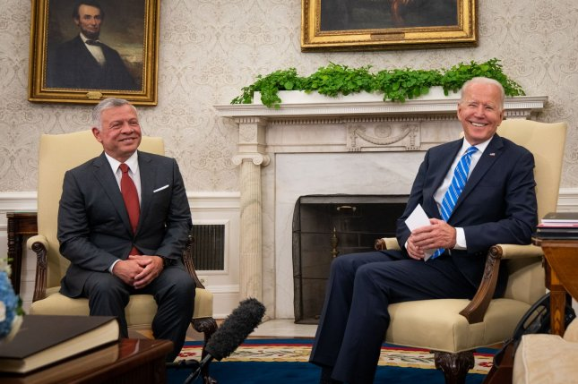 King Abdullah of Jordan meets with President Joe Biden inside the Oval Office at the White House in Washington on Monday. Pool Photo by Sarahbeth Maney/UPI