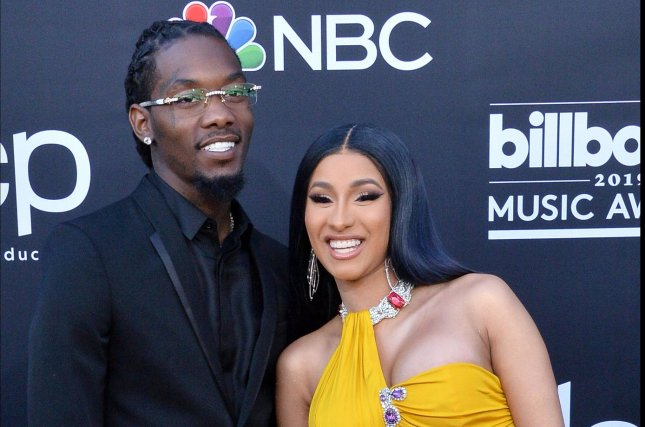 Offset (L) recalled on Jimmy Kimmel Live! how he brought Cardi B to Super Bowl LI for their first date. File Photo by Jim Ruymen/UPI