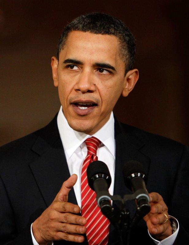 U.S. President Barack Obama speaks at the White House after the U.S. House of Representatives passed healthcare reform legislation, March 21, 2009. UPI/Alex Wong/Pool