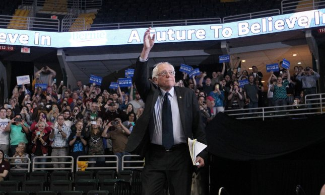 Democratic Presidential candidate Bernie Sanders waves to the crowd during a campaign stop in Missouri last month. Sanders traveled to the Vatican Friday to deliver a speech. He was later greeted by Pope Francis before leaving to return to the United States. Photo by Bill Greenblatt/UPI