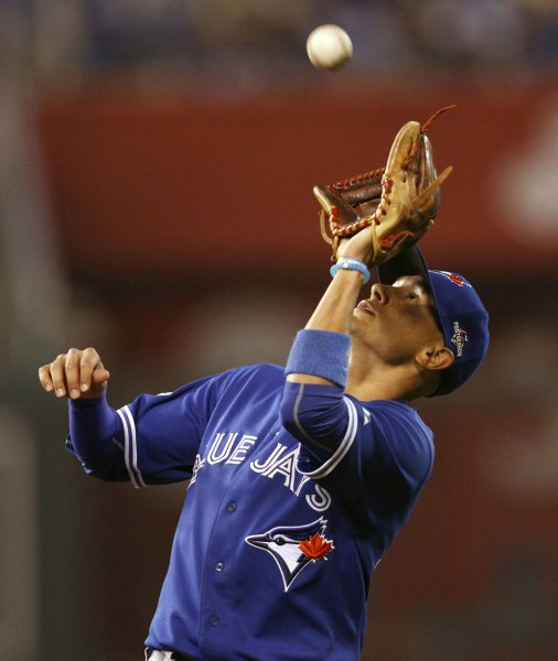 Ryan Goins and the Toronto Bliue Jays walloped the New York Yankees on Friday. Photo by Jeff Moffett/UPI