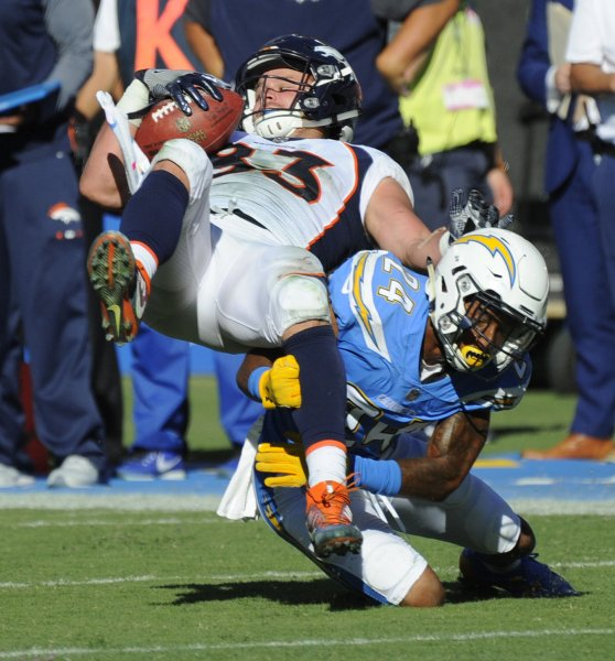 Los Angeles Chargers' Trevor Williams stops Denver Broncos' A.J. Derby in the second half at the StubHub Center in Carson, California on October 22, 2017. Photo by Lori Shepler/UPI