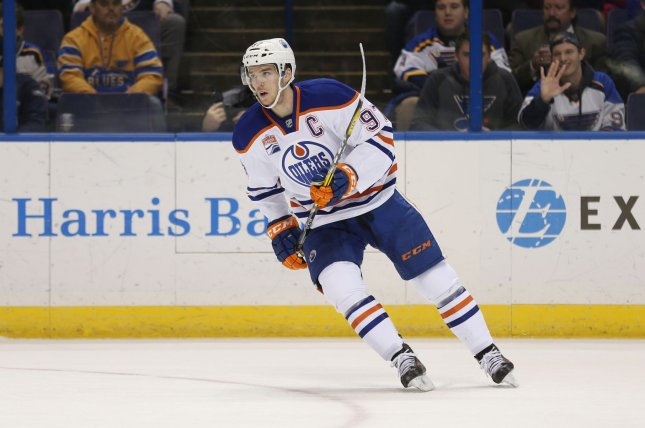 Connor McDavid and the Edmonton Oilers take on the St. Louis Blues on Tuesday. Photo by BIll Greenblatt/UPI