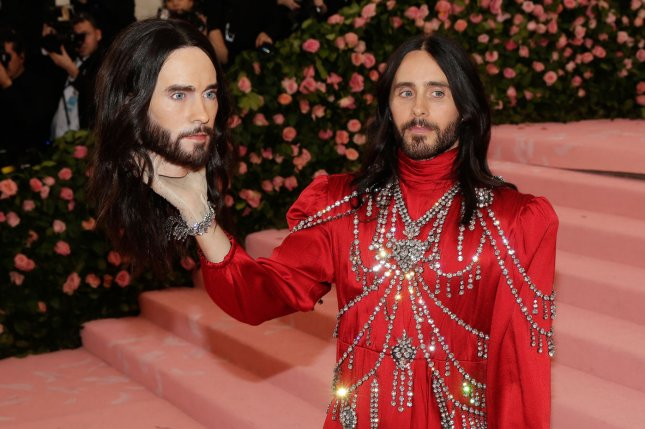 Jared Leto arrives on the pink carpet at the 2019 Met Gala in New York on Monday. Photo by John Angelillo/UPI