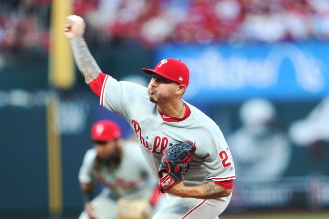 Philadelphia Phillies starting pitcher Vince Velasquez delivers a pitch to the St. Louis Cardinals in the first inning at Busch Stadium in St. Louis last week. Velasquez is headed to the injured list with a right forearm strain. Photo by Bill Greenblatt/UPI