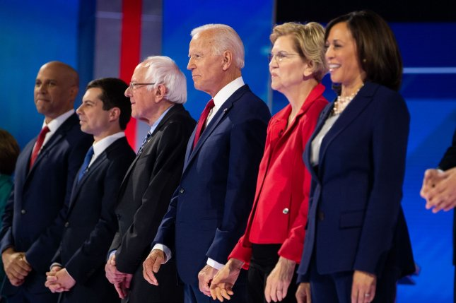 Democratic presidential candidates, from left to right, New Jersey Sen. Cory Booker, South Bend, Ind., Mayor Pete Buttigieg, Vermont Sen. Bernie Sanders, former Vice President Joe Biden, Massachusetts Sen. Elizabeth Warren and California Sen. Kamala Harris prior to the September 12 debate in Houston. File Photo by Kevin Dietsch/UPI