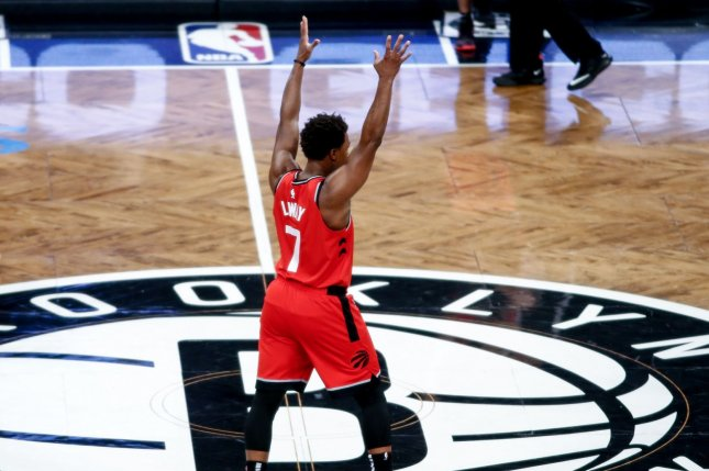 Toronto Raptors guard Kyle Lowry scored a game-high 32 points in a win against the Dallas Mavericks Sunday in Toronto. Photo by Nicole Sweet/UPI