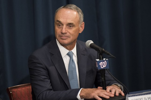 Major League Baseball commissioner Rob Manfred said Monday he wasn't confident that MLB would have a season in 2020. File Photo by Kevin Dietsch/UPI