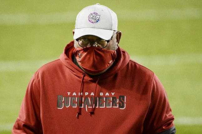 Tampa Bay Buccaneers head coach Bruce Arians wants his team to focus on Sunday's NFC Championship game instead of looking ahead toward the Super Bowl. File Photo by Brian Kersey/UPI