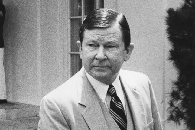 Sen. John Tower, R-Texas, leaves the White House on May 7, 1982, after meeting with President Ronald Reagan on the 1983 military budget. On April 5, 1991, Tower and 22 others were killed in a commuter plane crash in Brunswick, Ga. File Photo by Ron Bennett/UPI