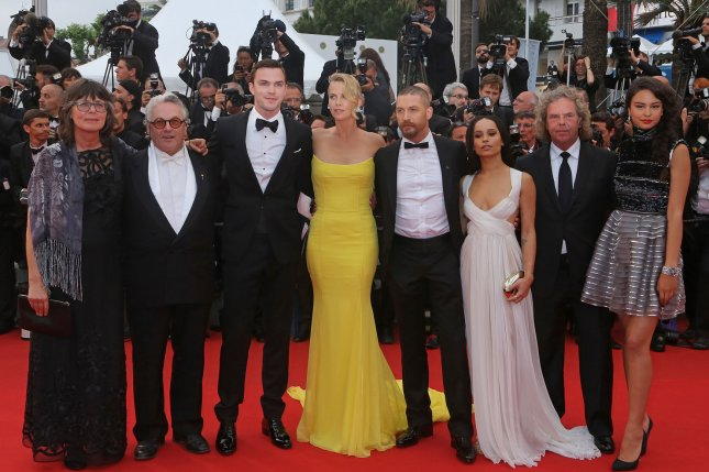 (From L to R) Sandy Gore, George Miller, Nicholas Hoult, Charlize Theron, Tom Hardy, Zoe Kravitz, Doug Mitchell and Courtney Eaton arrive at the screening of the film Mad Max : Fury Road during the 68th annual Cannes International Film Festival in France on May 14, 2015. Photo by David Silpa/UPI