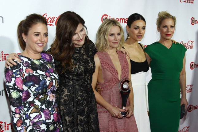 Bad Moms actresses Annie Mumolo, Kathryn Hahn, Kristen Bell, Mila Kunis and Christina Applegate, recipients of the Female Stars of the Year Award, arrive for the CinemaCon 2016 Big Screen Achievement Awards on Las Vegas on April 14, 2016. Photo by James Atoa/UPI