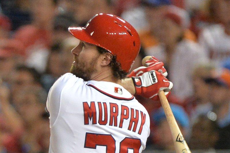 Washington Nationals second baseman Daniel Murphy (20). Photo by Kevin Dietsch/UPI