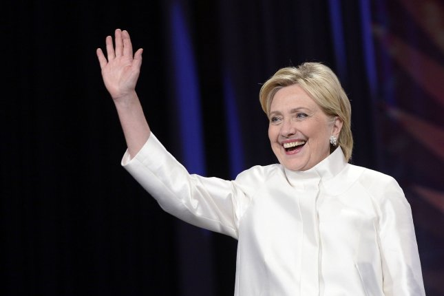 Democratic nominee for president of the United States Hillary Clinton waves on stage at the Congressional Black Caucus Foundation's 46th Annual Legislative Conference Phoenix Awards Dinner in Washington, D.C., on September 17 2016. Clinton recently appeared on comedian Zach Galifianakis' awkward talk show, Between Two Ferns. Pool photo by Olivier Douliery/UPI