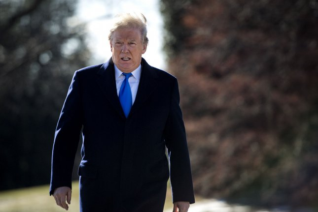 President Donald Trump departs the White House for a weekend trip to Camp David where he will meet with Republican leadership, on the South Lawn at the White House on Friday in Washington, D.C. Photo by Kevin Dietsch/UPI