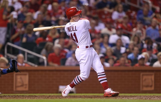 yler O'Neill of the St. Louis Cardinals hits a RBI double in the fifth inning against the Kansas City Royals at Busch Stadium in St. Louis on Monday. Photo by Bill Greenblatt/UPI