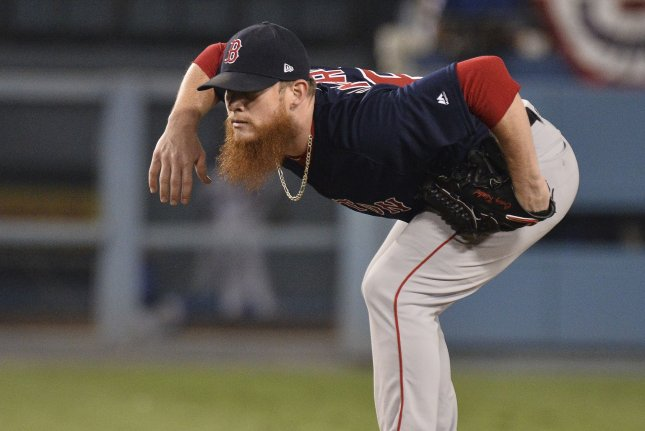 Former Boston Red Sox relief pitcher Craig Kimbrel didn't sign with any teams during the off-season and remained a free agent into the 2019 season. File Photo by Jim Ruymen/UPI
