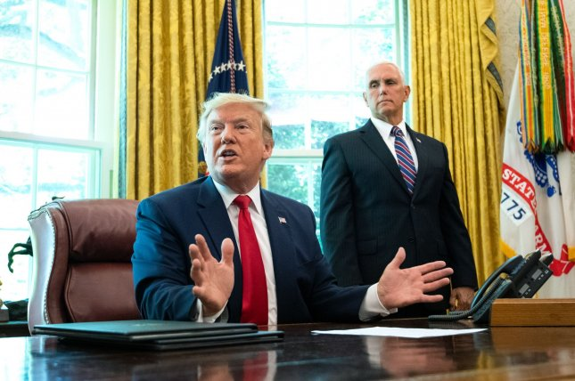 President Donald Trump and his administration have sanctioned three Hezbollah affiliates for aiding Iran. Photo by Kevin Dietsch/UPI