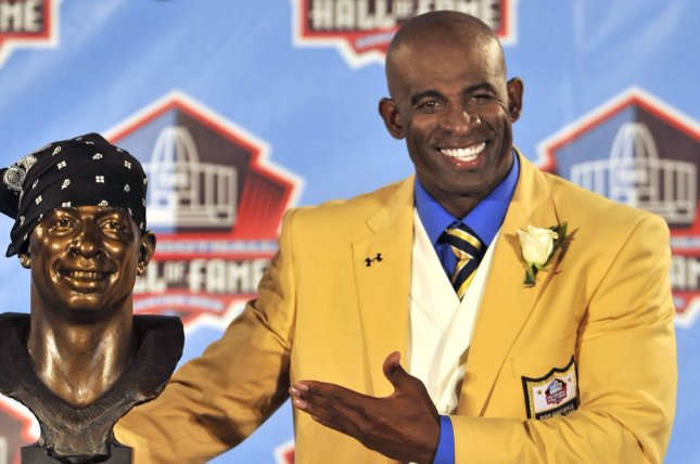 Shedeur Sanders, the son of NFL legend Deion Sanders (pictured), will play at FAU next season. File Photo by David Richard/UPI