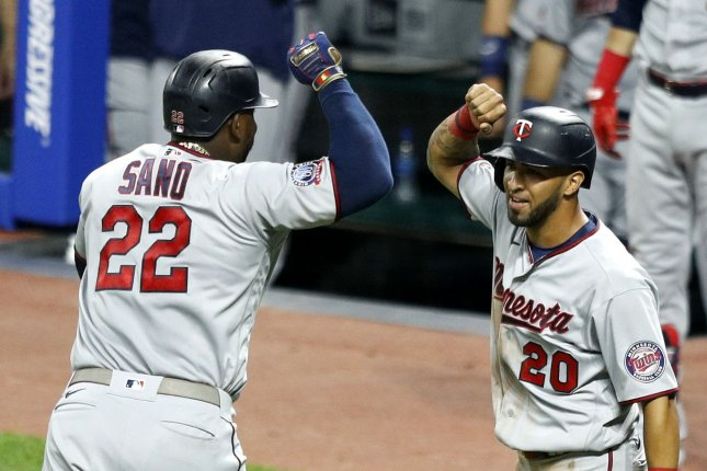 Minnesota Twins infielder Miguel Sanó (22) hit a go-ahead home run in the fourth inning of a win over the Cleveland Indians Monday in Cleveland. Photo by Aaron Josefczyk/UPI