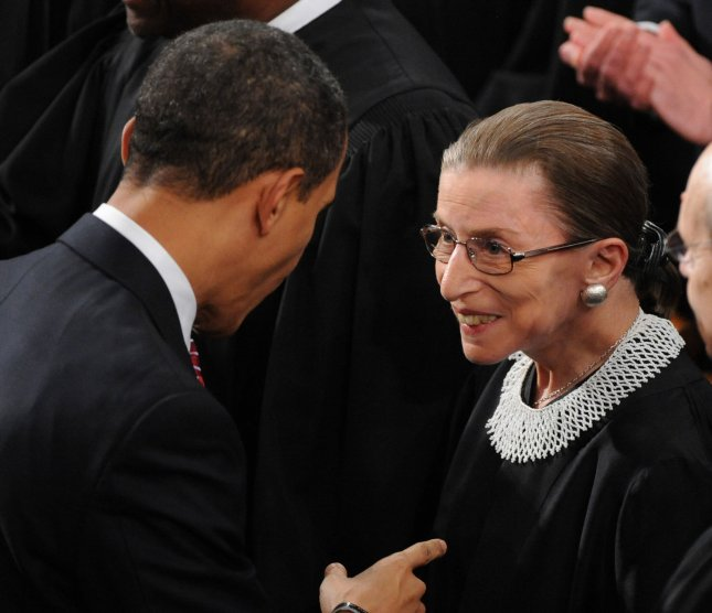 President Barack Obama meets Supreme Court Justice Ruth Bader Ginsburg as he arrives to address a joint session of congress on Capitol Hill in Washington on February 24, 2009. This is the first public appearance for Ginsburg as she is recovering from cancer surgery. (UPI Photo/Pat Benic)