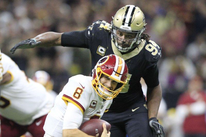 ae008b9e6 New Orleans Saints defensive end Cameron Jordan (94) sacks Washington  Redskins quarterback Kirk Cousins (8) during overtime on November 19