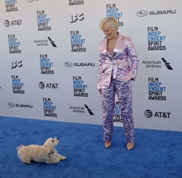 Actress Glenn Close and her dog Pip attended the 34th annual Film Independent Spirit Awards in Santa Monica on Saturday. Photo by Jim Ruymen/UPI
