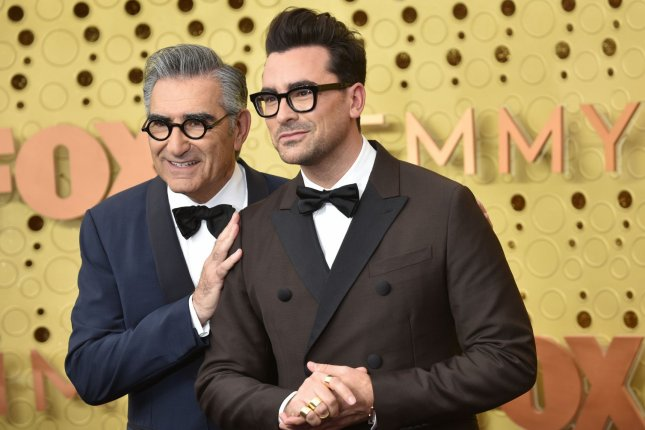 Schitt's Creek co-creators and stars Eugene Levy (L) and Dan Levy arrive for the 71st annual Primetime Emmy Awards on September 2019. The series has received 21 nominations for the Canadian Screen Awards. File Photo by Christine Chew/UPI