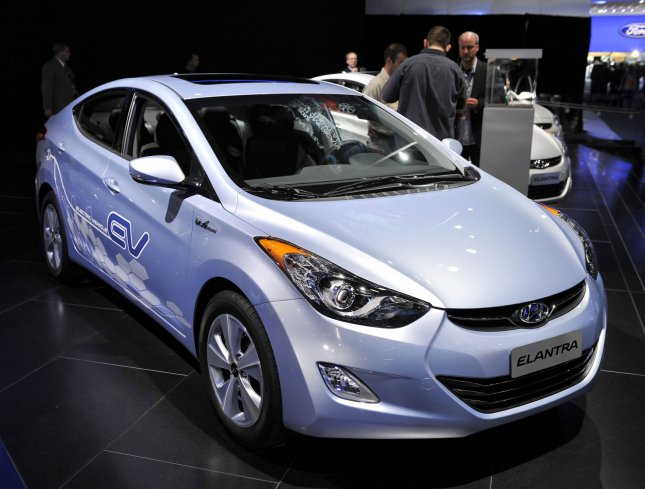 The Hyundai Elantra Electric is displayed at the 2012 North American International Auto Show on January 10, 2012 in Detroit, Michigan. UPI/Brian Kersey