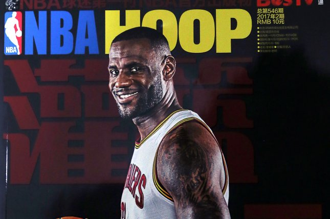 NBA China's monthly magazine, featuring a front-page story on Lebron James, is sold in Beijing on February 27, 2017. American NBA stars are revered by manyChinese students, with many Chinese bars and restaurants televising live NBA games. The NBA considers China as its next largest market for fans and merchandise sales after the United States. Photo by Stephen Shaver/UPI