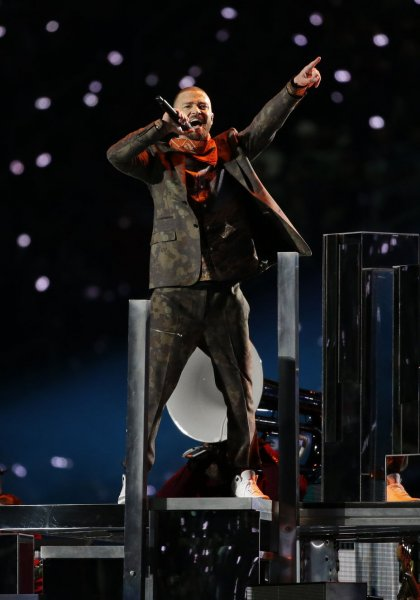 Justin Timberlake performs the halftime show at Super Bowl LII at U.S. Bank Stadium in Minneapolis, Minnesota on Sunday. Photo by John Angelillo/UPI