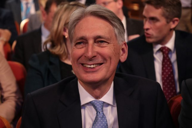 British Chancellor of the Exchequer Philip Hammond on Tuesday approved a budget increase for the U.K. Ministry of Defense, though other leaders noted it fell short of the department's request. Photo by Hugo Philpott/UPI