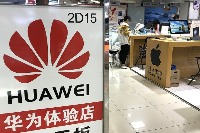 Huawei smartphones are sold at a shop in Beijing, China. The company filed suit against U.S. carrier Verizon, saying it's using Huawei-patented technologies. File Photo by Stephen Shaver/UPI