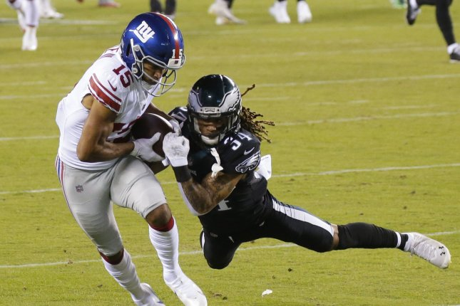 New York Giants wide receiver Golden Tate III (15) had 35 receptions for 388 yards and two touchdowns in the 2020 campaign, his least productive season since his rookie year. File Photo by John Angelillo/UPI