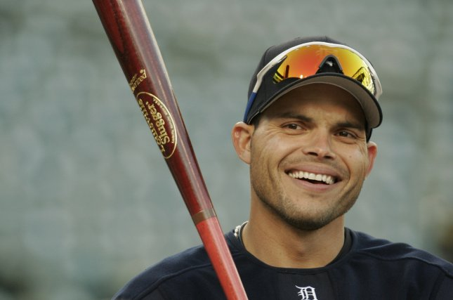Detroit catcher Ivan Pudge Rodriguez has a laugh during batting practice before the game at Comerica Park in Detroit, Michigan on October 6, 2006 (UPI Photo/Matthew Mitchell)