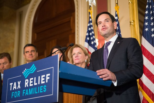 Sen. Marco Rubio, R-Fla., on Friday indicated he'll vote for the tax bill after the child tax credit was increased. File Photo by Erin Schaff/UPI