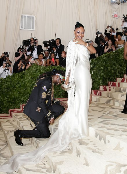 Rapper 2 Chainz (L) and his longtime girlfriend Kesha Ward arrive on the red carpet at The Met Gala on Monday. 2 Chainz proposed to Ward at the event. File Photo by John Angelillo/UPI