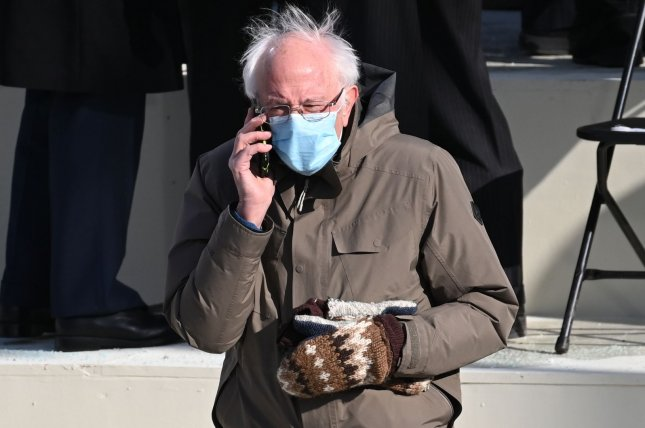 Sen. Bernie Sanders attends the inauguration of President Joe Biden on Thursday. Sanders and his mittens became a viral meme across social media. Pool Photo Saul Loeb/UPI