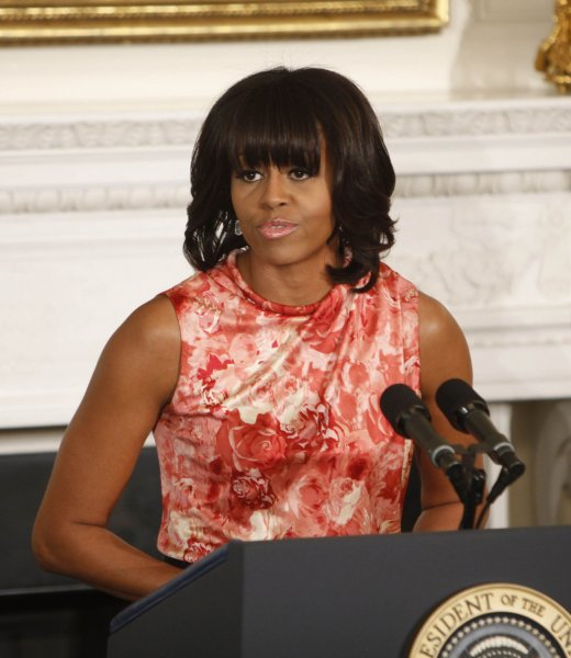 First Lady Michelle Obama addressed the National Governors Association in the State Dining Room of the White House Monday, fresh from her cameo on the Academy Awards. UPI/Dennis Brack/Pool