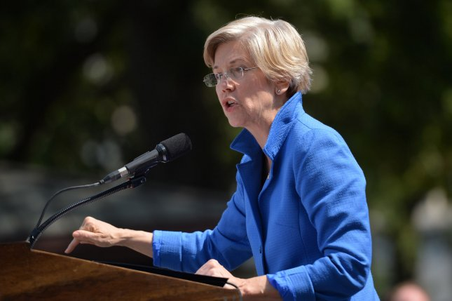 Sen. Elizabeth Warren, D-Mass, appeared with Hillary Clinton at a campaign event in Cincinnati on Monday. Warren called Republican Donald Trump a a small, insecure money grubber who would crush you into the dirt. File photo by Kevin Dietsch/UPI