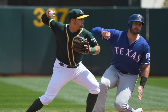 Oakland Athletics shortstop Adam Rosales (L) throws to first after forcing Texas Rangers' Joey Gallo on a fielder's choice in the third inning at the Oakland Coliseum in Oakland, Califoria on April 19, 2017. File photo by Terry Schmitt/UPI